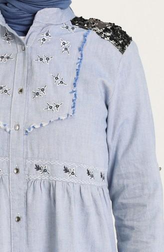 Payetli Düğmeli Tunik 3005-02 Buz Mavisi