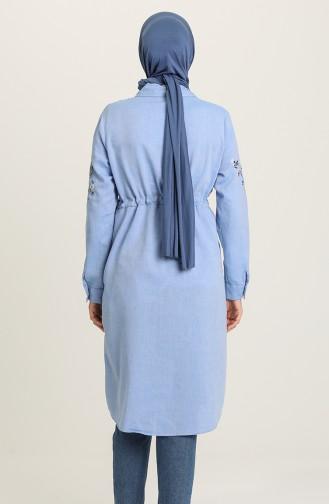 Beli Büzgülü Nakışlı Tunik 5009-02 Mavi