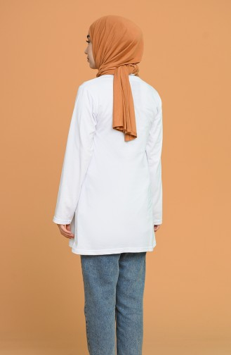 Baskılı Tunik 5609-01 Beyaz