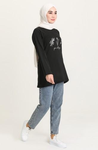 Baskılı Tunik 5610-02 Siyah