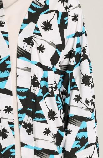 Desenli Kimono 5070-02 Turkuaz 5070-02