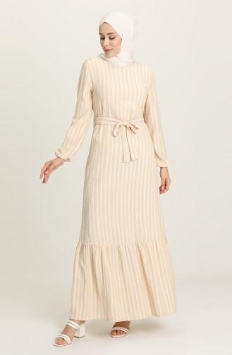 Light Mustard Hijab Dress 2032-02