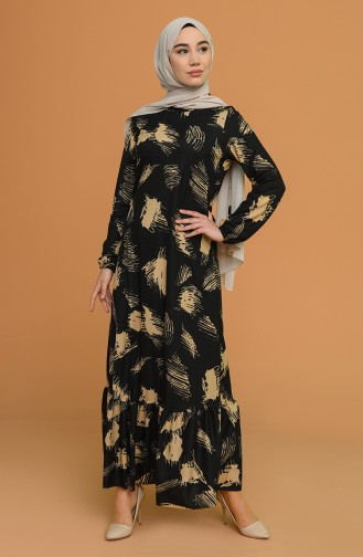 Kolu Lastikli Desenli Elbise 5641A-03 Siyah