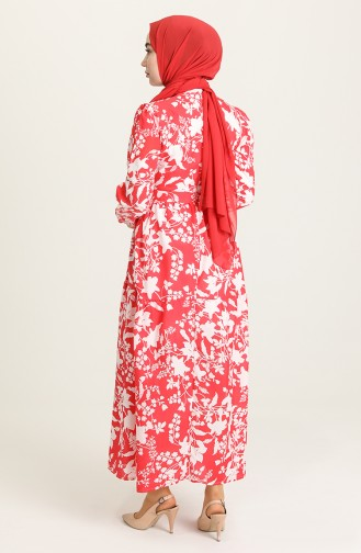 Desenli Büzgülü Elbise 5400-02 Kırmızı
