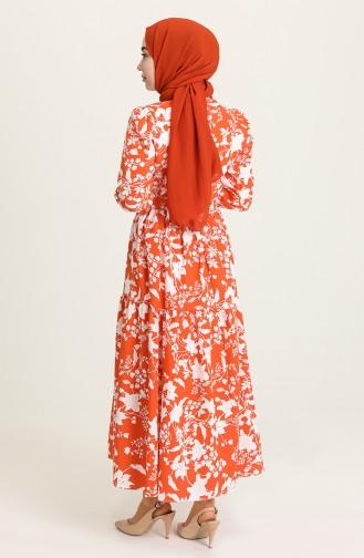 Desenli Büzgülü Elbise 5400-03 Oranj