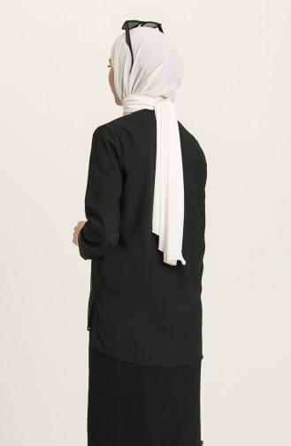 Lazer Kesim Tunik 2148-02 Siyah