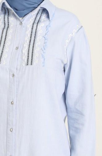 Nakışlı Pamuklu Uzun Tunik 3004-06 Bebe Mavi