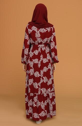 Claret Red Hijab Dress 4566-04