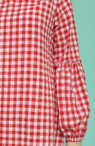 Balon Kollu Elbise 1642-02 Kırmızı