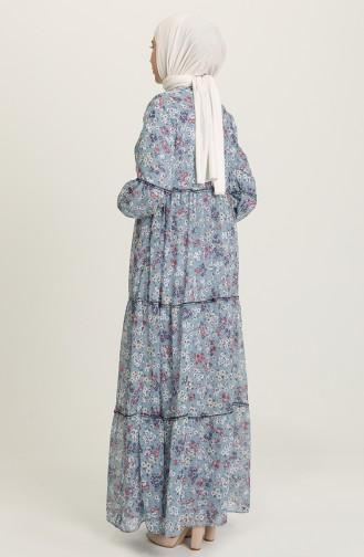 Robe Hijab Bleu Acier 21Y8278A-03