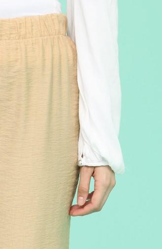 Beli lastikli Düz Paça Pantolon 1030-09 Bej