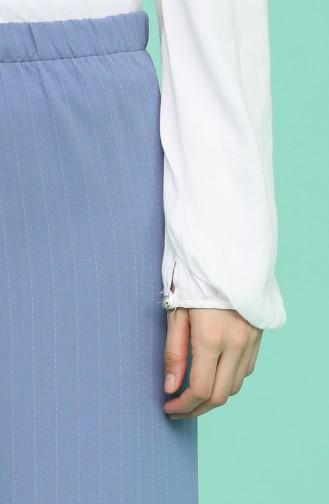 Çizgili Bol Paça Pantolon 1337-01 İndigo