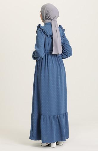 Kuşaklı Fırfırlı Elbise 21Y8302-01 İndigo