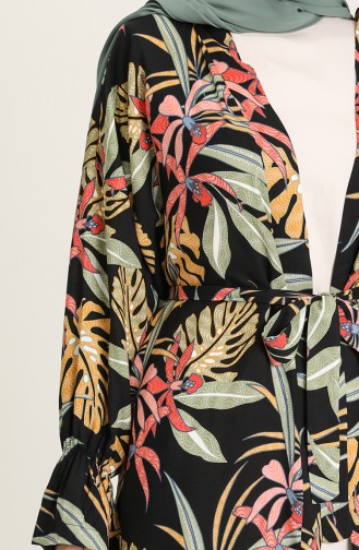Desenli Kuşaklı Kimono 2020-02 Siyah Çağla Yeşili