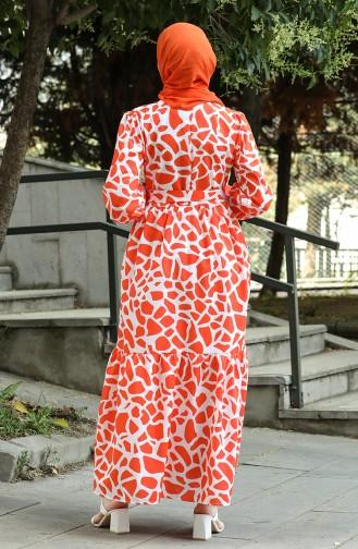 Orange Hijab Dress 4568-03