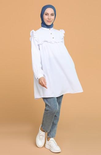 Firfirli Düğmeli Tunik 1518-02 Beyaz