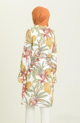 Desenli Kuşaklı Kimono 2020-01 Beyaz Çağla Yeşili