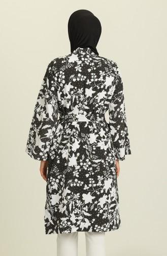 Desenli Kimono 5380-02 Siyah