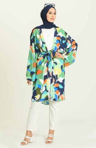 Yazlık Renkli Kimono 3287-05 Yeşil
