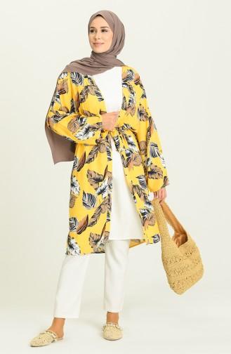Yazlık Renkli Kimono 3287-07 Hardal
