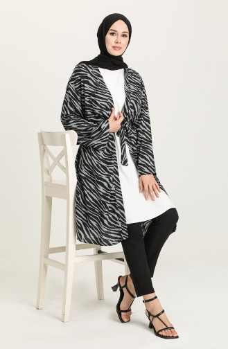 Yazlık Renkli Kimono 3287-14 Siyah Gri