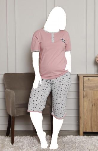 Kadın Pijama Takımı Büyük Beden Yıldız Desenli Tampap 5181 5181-01 Pembe