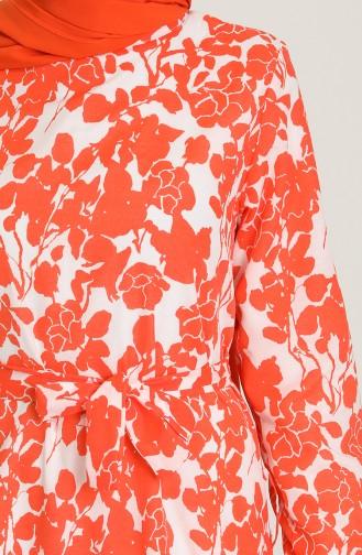 Brick Red Hijab Dress 9077-01