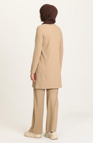 Fitilli Tunik Pantolon İkili Takım 2902-06 Bej