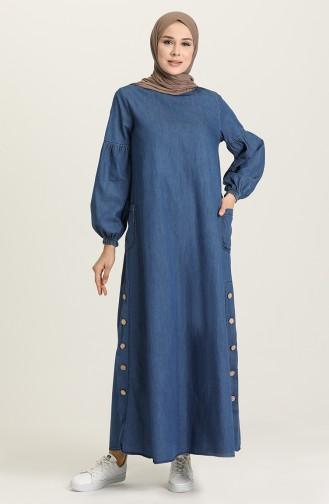 Dark Blue Hijab Dress 1001-01