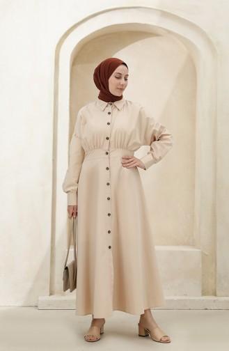 Beige Hijab Dress 4370-06