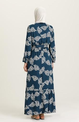 فستان أزرق زيتي 4566-01