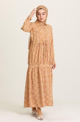 فستان عسلي 5467-03