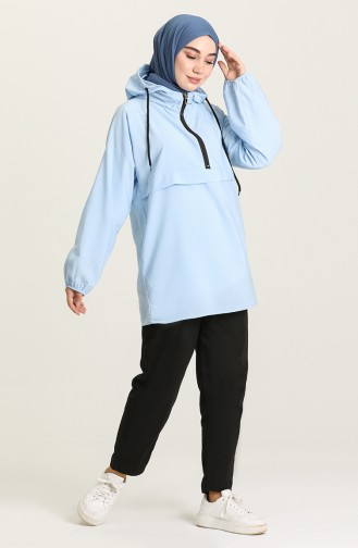 Kapüşonlu Spor Tunik 3002-03 Bebe Mavisi
