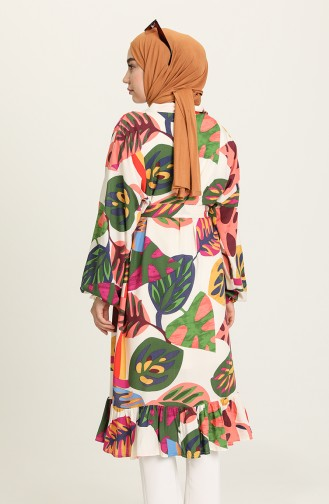 Desenli Kuşaklı Kimono 2020D-01 Yeşil Gül Kurusu