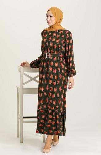 Grün Hijap Kleider 2206-06