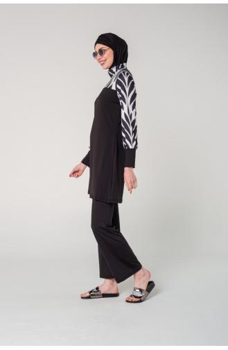 Black Swimsuit Hijab 7060-01