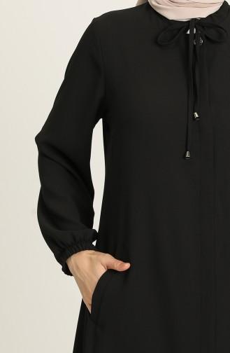 Gizli Düğmeli Ferace 5169-01 Siyah