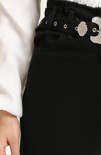 Kemerli Bol Paça Kot Pantolon 7516-04 Siyah