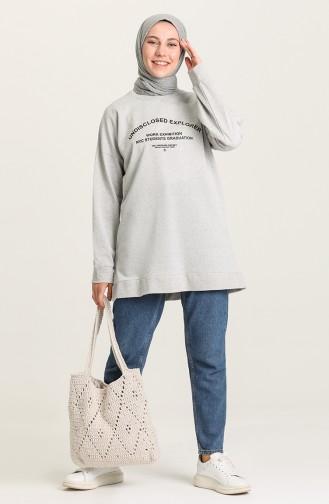 Baskılı Sweatshirt 1011-01 Gri