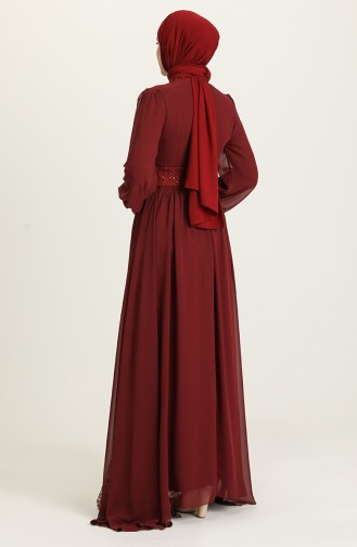 فساتين سهرة بتصميم اسلامي أحمر كلاريت 5408-06