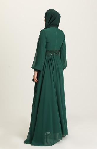 Payetli Abiye Elbise 5408-07 Zümrüt Yeşili