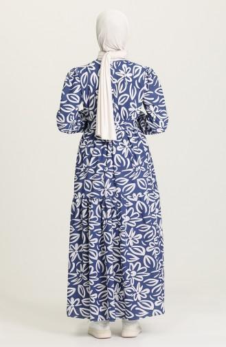 Desenli Büzgülü Elbise 5400A-02 Lacivert