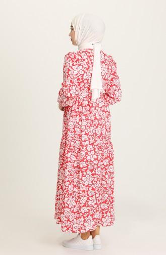 Desenli Anne Kız Kombin Elbise 5403-02 Kırmızı