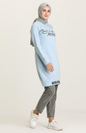 Baskılı Spor Tunik 1058-03 Buz Mavisi