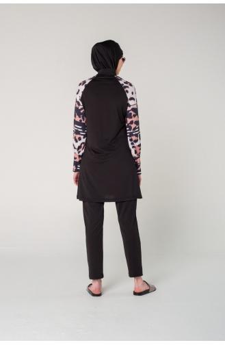 Maillot de Bain Hijab Noir 7070-01