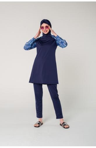Maillot de Bain Hijab Bleu Marine 7071-01