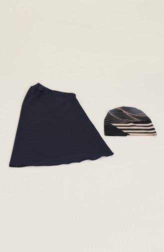 Maillot de Bain Hijab Bleu Marine 21617-01