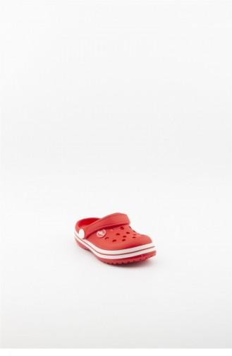 Red Kid s Slippers & Sandals 3774.MM KIRMIZI-BEYAZ-KIRMIZI