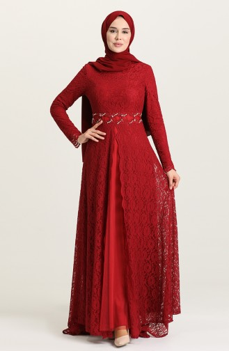 Claret Red Hijab Evening Dress 5083-04