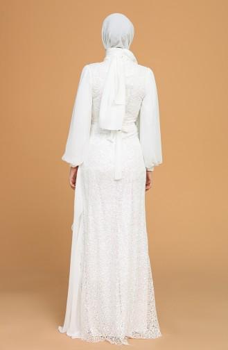 Payetli Şifon Abiye Elbise 5516-01 Beyaz